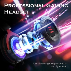 EKSA Gaming Headphone Headset LED Virtual 7.1 with Mic - E900 - Black - 7