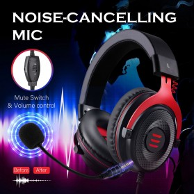 EKSA Gaming Headphone Headset LED Virtual 7.1 with Mic - E900 - Black - 8