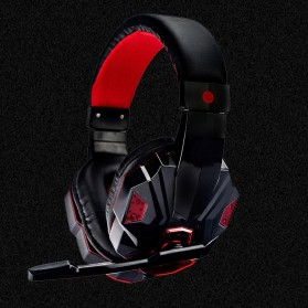 HANXI Gaming Headphone Headset LED with Mic - SY830MV - Red