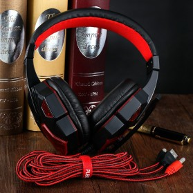 HANXI Gaming Headphone Headset LED with Mic - SY830MV - Red - 2