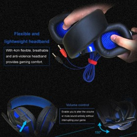 HANXI Gaming Headphone Headset LED with Mic - SY830MV - Red - 4