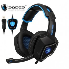 Sades Spirit Wolf Gaming Headphone Headset LED Virtual 7.1 with Mic - Blue