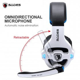 Sades Gaming Headphone Headset LED Virtual 7.1 with Mic - SA-903 - Red - 3