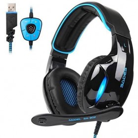 Sades Gaming Headphone Headset LED Virtual 7.1 with Mic - SA-902 - Blue