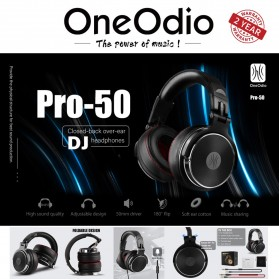 Oneodio Gaming Headphone Headset Studio Pro DJ with Mic - Pro-50 - Black