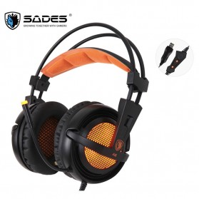 Sades Gaming Headphone Headset LED Virtual 7.1 with Mic - A6 - Black