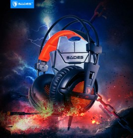 Sades Gaming Headphone Headset LED Virtual 7.1 with Mic - A6 - Black - 6