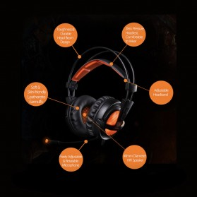 Sades Gaming Headphone Headset LED Virtual 7.1 with Mic - A6 - Brown - 11