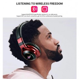 HANXI Wireless Headphone Bluetooth 5.0 3D Stereo with Mic - LED-008 - Gray - 2
