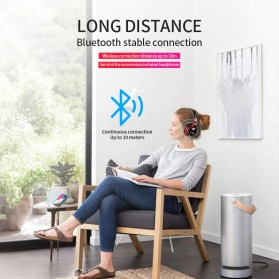 HANXI Wireless Headphone Bluetooth 5.0 3D Stereo with Mic - LED-008 - Gray - 6
