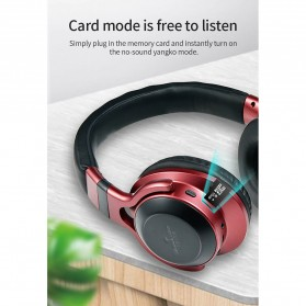 HANXI Wireless Headphone Bluetooth 5.0 3D Stereo with Mic - LED-008 - Red - 10