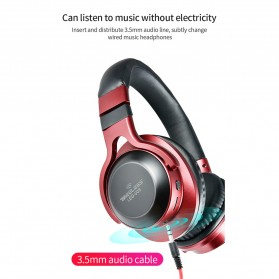 HANXI Wireless Headphone Bluetooth 5.0 3D Stereo with Mic - LED-008 - Red - 11