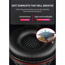 HANXI Wireless Headphone Bluetooth 5.0 3D Stereo with Mic - LED-008 - Red - 9