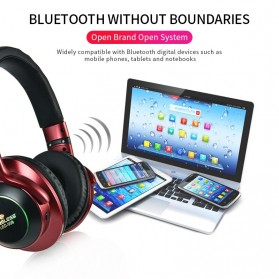 HANXI Wireless Headphone Bluetooth 5.0 3D Stereo with Mic - LED-008 - Blue - 5