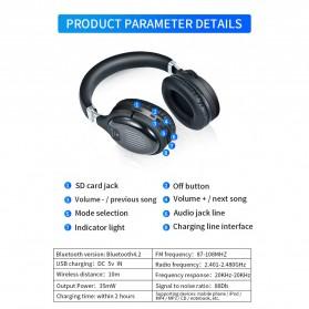 HANXI Wireless Headphone Bluetooth 5.0 3D Stereo with Mic - TM-061 - Black - 11