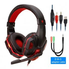 QearFun Gaming Headphone Headset LED with Mic - SY830MV - Red - 1