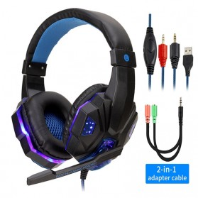 QearFun Gaming Headphone Headset LED with Mic - SY830MV - Blue