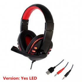 HANXI Gaming Headphone Headset LED with Mic - CH1 - Red