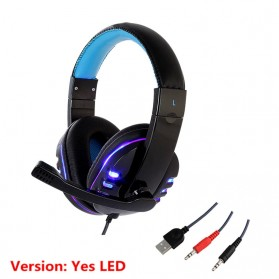 HANXI Gaming Headphone Headset LED with Mic - CH1 - Blue