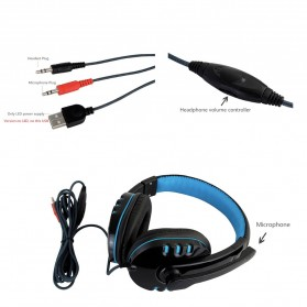 HANXI Gaming Headphone Headset LED with Mic - CH1 - Blue - 3