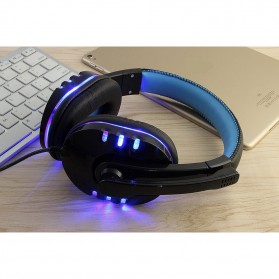 HANXI Gaming Headphone Headset LED with Mic - CH1 - Blue - 7
