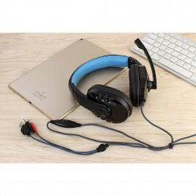 HANXI Gaming Headphone Headset LED with Mic - CH1 - Blue - 8