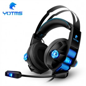 KOTION YOTMS Gaming Headphone Headset Super Bass RGB LED with Mic - Y1 7.1 - Black