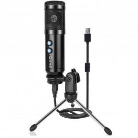 TaffSTUDIO Tech Microphone Condenser USB Mikrofon with Stand - UD-900FX - Black