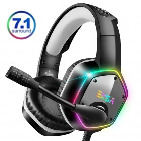 EKSA Gaming Headphone Headset LED Virtual 7.1 with Mic - E1000 - Gray