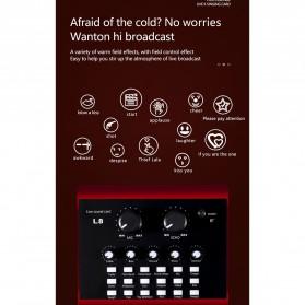 Lollipopc Bluetooth Audio USB External Soundcard Live Broadcast Microphone Headset - L8 - Black - 6