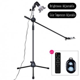 Lightupfoto Tripod Stand Holder Smartphone with Boom Arm and LED Light 35W Remote - CN-128 - Black