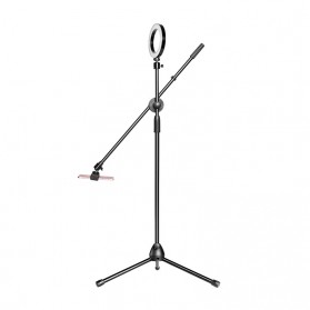 Lightupfoto Tripod Stand Holder Smartphone with Boom Arm and Ring Light- CN-171 - Black