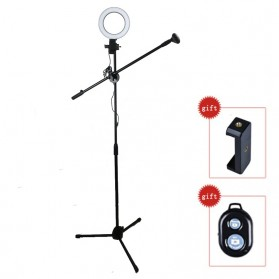 Lightupfoto Tripod Stand Holder Smartphone with Boom Arm Ring Light and Remote - CN-171 - Black
