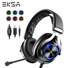 EKSA Gaming Headphone Headset LED with Mic - E3000 - Black