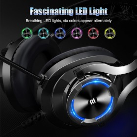 EKSA Gaming Headphone Headset LED with Mic - E3000 - Black - 3