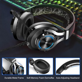 EKSA Gaming Headphone Headset LED with Mic - E3000 - Black - 5
