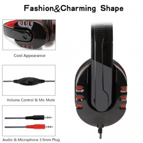 SOYTO Gaming Headphone Headset with Mic - SY733MV - Black/Red - 3