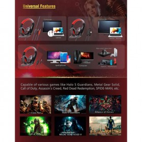 SOYTO Gaming Headphone Headset with Mic - SY733MV - Black/Red - 7