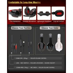 SOYTO Gaming Headphone Headset with Mic - SY733MV - Black/Red - 8