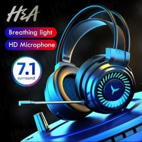 H&A Headphone Gaming USB Virtual Surround 7.1 Colourful RGB with Mic - G58 - Black - 1