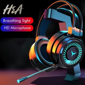 H&A Headphone Gaming USB Virtual Surround 7.1 Colourful RGB with Mic - G58 - Black - 6
