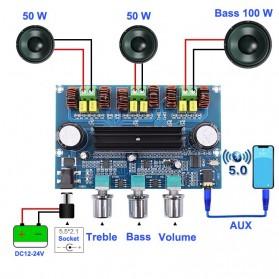 Vacusg Bluetooth Audio Receiver 5.0 Digital Amplifier Board 50W x 2 + 100W TPA3116D2 - Silver