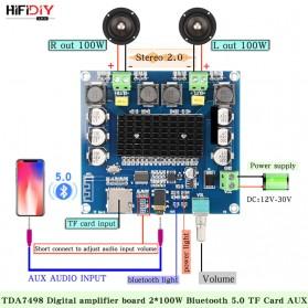 HIFIDIY Bluetooth Audio Receiver 5.0 Digital Amplifier Board 100W x 2 TDA7498 - XH-A105 - Blue