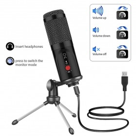 YICHUANG Microphone Condenser USB DJ Live Recording with Stand - MP1S10 - Black