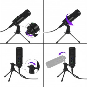 Marsnaska Microphone Condenser USB DJ Live Recording with Stand - BM-65 - Black - 4