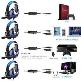ERXUNG Gaming Headphone Headset Super Bass Glow Light with Mic - J30 - Blue - 2