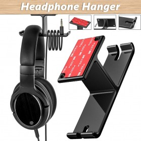New Bee Hanger Bracket Gantungan Headphone Earphone 2 in 1 - NB-Z10 - Black
