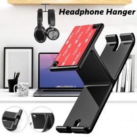 New Bee Hanger Bracket Gantungan Headphone Earphone 2 in 1 - NB-Z10 - Black - 5