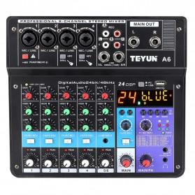 TEYUN Wireless Sound Mixing Console Mixer 6 Channel Phantom Power 48V - A6 - Black