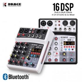 BOMGE USB Mini Portable Audio Mixer Karaoke DJ 4 Channel 16 DSP Effects  with 48V Phantom Power - Q-4D - Black